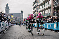 Drapac Cannondale teammates Sebastian Langeveld (NED) and Sep Vanmarcke (BEL) on their way to the sign-on stage.<br /> <br /> 81st Gent-Wevelgem in Flanders Fields (1.UWT)<br /> Deinze &gt; Wevelgem (251km)