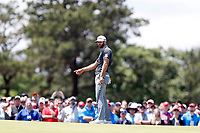 Dustin Johnson (USA) reacts after making a birdie putt on the 7th hole during the second round of the 118th U.S. Open Championship at Shinnecock Hills Golf Club in Southampton, NY, USA. 15th June 2018.<br /> Picture: Golffile | Brian Spurlock<br /> <br /> <br /> All photo usage must carry mandatory copyright credit (&copy; Golffile | Brian Spurlock)