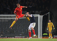 Nikolche Noveski fouls Kenny Miller in the Scotland v Macedonia FIFA World Cup Qualifying match at Hampden Park, Glasgow on 11.9.12.