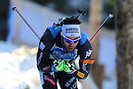 11/12/2016, Pokljuka - IBU Biathlon World Cup.<br /> Guiseppe Montello competes during the relay race in Pokljuka, Slovenia on 11/12/2016. France's Team with Jean Guillaume Beatrix, Quentin Fillon Maillet, Simon Desthieux and Martin Fourcade wins the race.