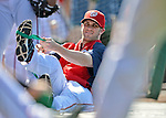 19 May 2012: Washington Nationals outfielder Bryce Harper stetches out prior to a game against the Baltimore Orioles at Nationals Park in Washington, DC. The Orioles defeated the Nationals 6-5 in the second game of their 3-game series. Mandatory Credit: Ed Wolfstein Photo