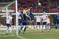 7th March 2020; Somerset Park, Ayr, South Ayrshire, Scotland; Scottish Championship Football, Ayr United versus Dundee FC; Ross Doohan of Ayr United punches clear off the head of Kane Hemmings of Dundee