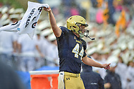 Annapolis, MD - September 8, 2018: Navy Midshipmen long snapper Michael Pifer (44) gets the crowd hype on a 4th down play during game between Memphis and Navy at  Navy-Marine Corps Memorial Stadium in Annapolis, MD. (Photo by Phillip Peters/Media Images International)