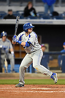 Indiana State Sycamores infielder Derek Hannahs (5) at bat during a game against the Vanderbilt Commodores on February 20, 2015 at Charlotte Sports Park in Port Charlotte, Florida.  Vanderbilt defeated Indiana State 3-2.  (Mike Janes/Four Seam Images)