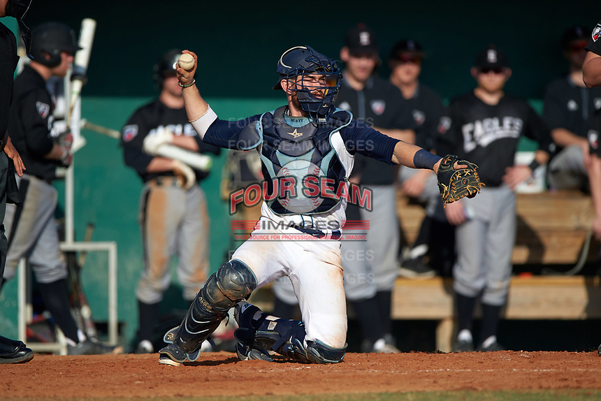Lasell Lasers catcher Wes Hurty (12) during the first game of a doubleheader against the Edgewood Eagles on March 14, 2016 at Terry Park in Fort Myers, Florida.  Edgewood defeated Lasell 9-7.  (Mike Janes/Four Seam Images)