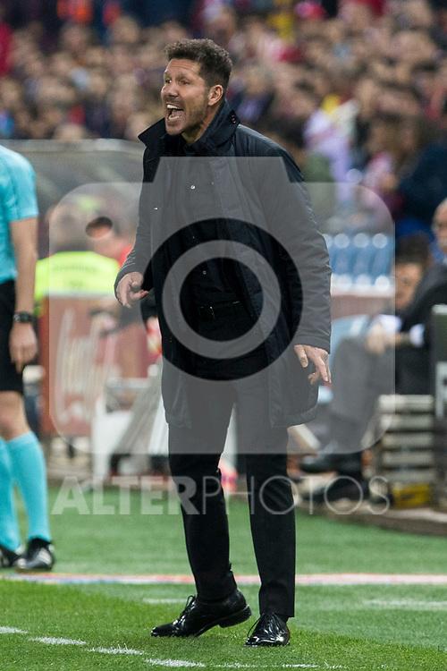 Diego Pablo Cholo Simeone coach of Atletico de Madrid during the match of La Liga between Atletico de Madrid and Villarreal at Vicente Calderon  Stadium  in Madrid, Spain. April 25, 2017. (ALTERPHOTOS/Rodrigo Jimenez)