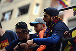 League Santander 2017/2018.<br /> Rua de Campions FC Barcelona.<br /> Pepe Costa, Jordi Alba &amp; Luis Suarez.