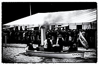 """Henley on Thames,  GREAT BRITAIN,  5th July 2002, Umpires Steam Launch 'Consuta', running a  full head of  steam, past's the, """"Stewards Enclosure, """"flying the Official Regatta Umpires Flag,  2002 Henley Royal Regatta """"Film Noir Style Photography"""", © Peter SPURRIER  05/07/2002"""