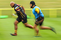 Soanel Tonga'huiha of Ampthill Rugby warms up ahead of the Greene King IPA Championship match between Ampthill RUFC and Nottingham Rugby on Ampthill Rugby's Championship Debut at Dillingham Park, Woburn St, Ampthill, Bedford MK45 2HX, United Kingdom on 12 October 2019. Photo by David Horn.