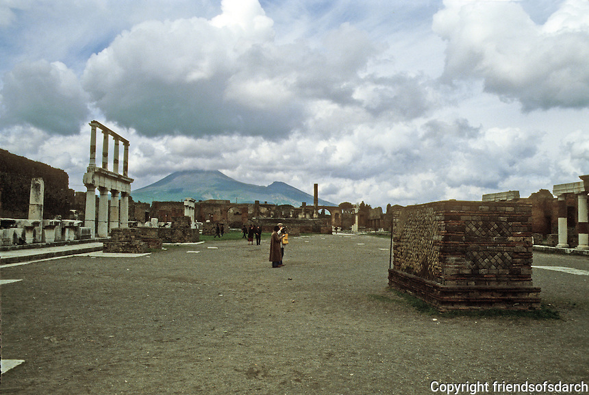 Italy: Pompeii--The Forum. Mount Vesuvius in background. Photo '83.