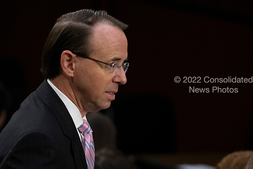 United States Deputy Attorney General Rod Rosenstein arrives prior to the confirmation hearing of Judge Brett Kavanaugh before the United States Senate Judiciary Committee on his nomination as Associate Justice of the US Supreme Court to replace the retiring Justice Anthony Kennedy on Capitol Hill in Washington, DC on Tuesday, September 4, 2018.Credit: Alex Edelman / CNP