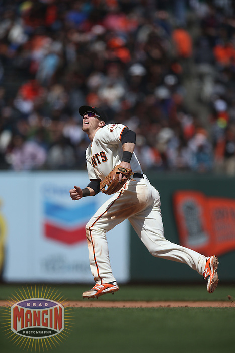 SAN FRANCISCO, CA - MAY 25:  Matt Duffy #5 of the San Francisco Giants plays defense at third base against the San Diego Padres during the game at AT&T Park on Wednesday, May 25, 2016 in San Francisco, California. Photo by Brad Mangin