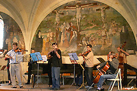 String orchestra concerto. Abbaye Royale de Fontevraud abbey, Loire, France