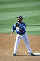 Willie Calhoun (36) of the Rancho Cucamonga Quakes waits for a throw to second base during a game against the San Jose Giants at LoanMart Field on August 30, 2015 in Rancho Cucamonga, California. Rancho Cucamonga defeated San Jose 8-3. (Larry Goren/Four Seam Images)