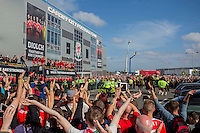 The open top bus of players ends its journey at Cardiff City Stadium during the Homecoming of the Wales Euro 2016 Squad, Cardiff. 8 July 2016. Photo by Mark  Hawkins / PRiME Media Images.