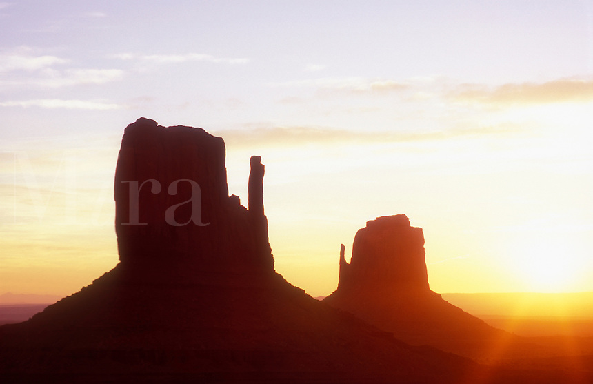 USA,Arizona,Monument Valley Navajo Tribal Park,sunrise over Left and Right Mittens