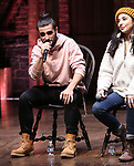 "Giuseppe Bausitio and Lauren Boyd during the eduHAM Q & A before The Rockefeller Foundation and The Gilder Lehrman Institute of American History sponsored High School student #EduHam matinee performance of ""Hamilton"" at the Richard Rodgers Theatre on November 13, 2019 in New York City."