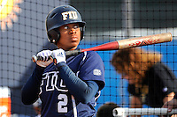 11 February 2012:  FIU's Ashley McClain (2) prepares to bat as the University of Massachusetts Minutewomen defeated the FIU Golden Panthers, 3-1, as part of the COMBAT Classic Tournament at the FIU Softball Complex in Miami, Florida.
