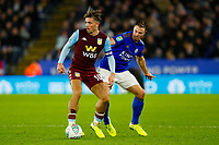 8th January 2020; King Power Stadium, Leicester, Midlands, England; English Football League Cup Football, Carabao Cup, Leicester City versus Aston Villa; Jack Grealish of Aston Villa holds off Jonny Evans of Leicester City - Strictly Editorial Use Only. No use with unauthorized audio, video, data, fixture lists, club/league logos or 'live' services. Online in-match use limited to 120 images, no video emulation. No use in betting, games or single club/league/player publications