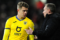 Steve Cooper Head Coach of Swansea City speaks to Jake Bidwell of Swansea City during the Sky Bet Championship match between Fulham and Swansea City at Craven Cottage on February 26, 2020 in London, England. (Photo by Athena Pictures/Getty Images)