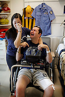 Toni Misitano and Ryan Marron become emotional as Toni described how their lives have been devastated since Ryan contracted Murray River encephalitis whilst serving as a police officer in the remote outback. He is receiving treatment at a Chicago hospital.