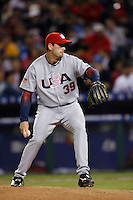 Dan Wheeler of the USA during the World Baseball Championships at Angel Stadium in Anaheim,California on March 13, 2006. Photo by Larry Goren/Four Seam Images