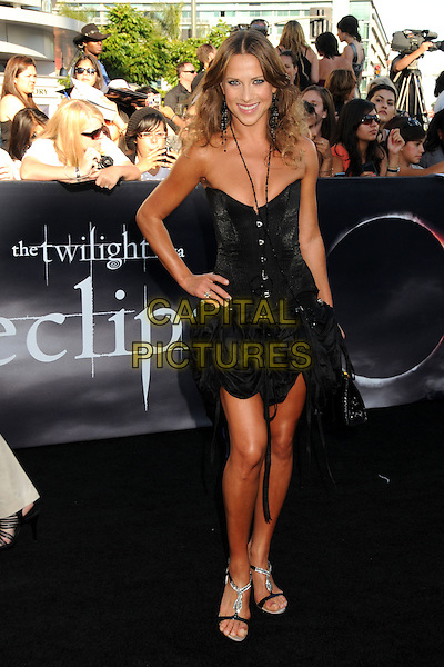 "EDYTA SLIWINSKA.""The Twilight Saga: Eclipse"" Los Angeles Premiere at the 2010 Los Angeles Film Festival held at Nokia Theatre LA Live, Los Angeles, California, USA, 24th June 2010..full length hand on hip  dress  sandals  black beads black strapless necklace .CAP/ADM/BP.©Byron Purvis/AdMedia/Capital Pictures."