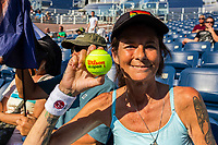 NEW YORK, USA - August 22 : US Open fan poseS for a portrait during Andy Roddick practicing game on August 22, 2019 in New York, USA.<br /> People attend US Open the fan week with Featured practice matches with Roger Federer and Novak Djokovic <br /> (Photo by Luis Boza/VIEWpress)