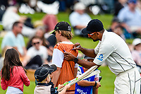 Ish Sodhi of the Black Caps with fans during Day 4 of the Second International Cricket Test match, New Zealand V England, Hagley Oval, Christchurch, New Zealand, 2nd April 2018.Copyright photo: John Davidson / www.photosport.nz