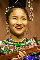 Zhaoxing, Guizhou, China.  Traditional Musical Performance by Member of Dong Ethnic Minority.