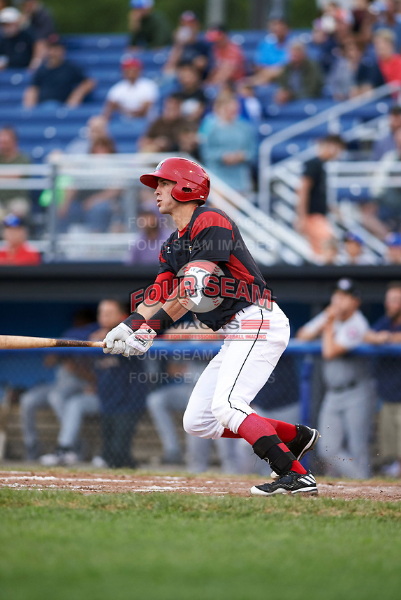Batavia Muckdogs third baseman Tyler Curtis (11) at bat during a game against the Tri-City ValleyCats on July 14, 2017 at Dwyer Stadium in Batavia, New York.  Batavia defeated Tri-City 8-4.  (Mike Janes/Four Seam Images)