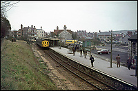 BNPS.co.uk (01202 558833)<br /> Pic: AndrewWright/BNPS<br /> <br /> The last train at Swanage in 1972.<br /> <br /> A plucky seaside railway that refused to die is finally rejoing the rail network today after a 45 year fight to reverse the Beeching axe.<br /> <br /> At 10.23 sharp a train will once again leave Swanage in Dorset to rejoin the main network at Wareham, thanks to an army of volunteers who have spent 45 years painstakingly rebuilding their line. 