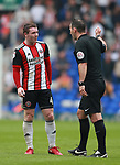 John Fleck of Sheffield Utd  chats to the referee during the championship match at St Andrews Stadium, Birmingham. Picture date 21st April 2018. Picture credit should read: Simon Bellis/Sportimage