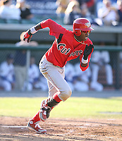 2007:  Domonic Brown of the Williamsport Crosscutters, Class-A affiliate of the Philadelphia Phillies, during the New York-Penn League baseball season.  Photo By Mike Janes/Four Seam Images