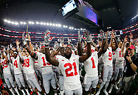 "Ohio State Buckeyes players sing |Carmen Ohio"" following their 40-28 win over the TCU Horned Frogs in the NCAA football game at AT&T Stadium in Arlington, Texas on Sept. 15, 2018. [Adam Cairns / Dispatch]"
