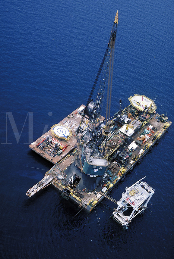 Pipeline laying barge and support vessel in the Gulf of Mexico. Gulf of Mexico.