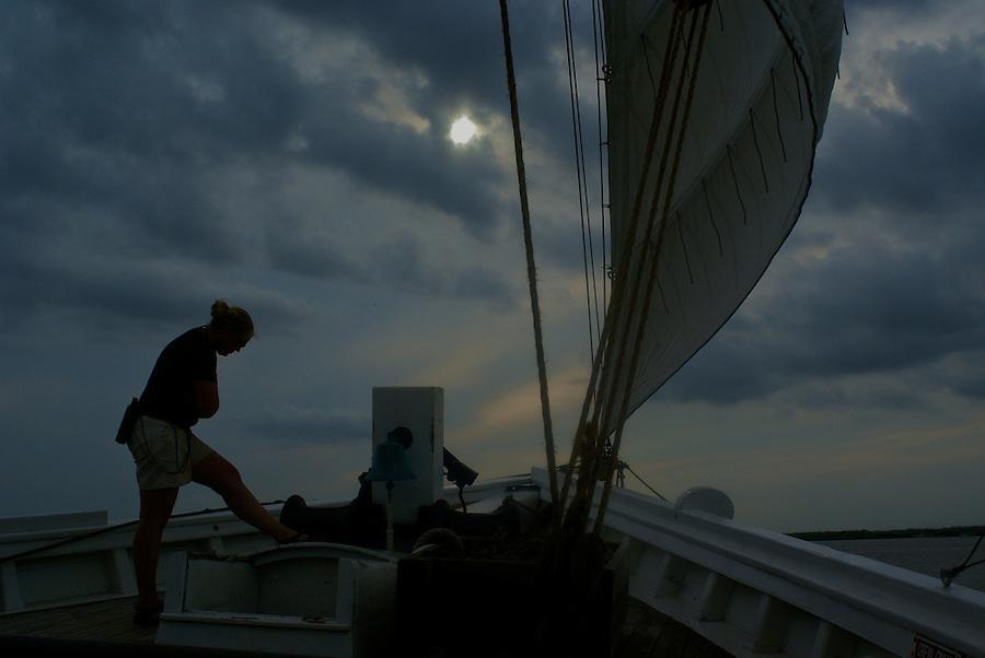 Dark clouds, A J Meerwald sailing in the Delaware Bay.