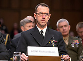 """United States Navy Admiral John M. Richardson, Chief of Naval Operations testifies before the US Senate Committee on Armed Services during a hearing on """"Chain of Command's Accountability to Provide Safe Military Housing and Other Building Infrastructure to Service members and Their Families"""" on Capitol Hill in Washington, DC on Thursday, March 7, 2019.<br /> Credit: Ron Sachs / CNP"""
