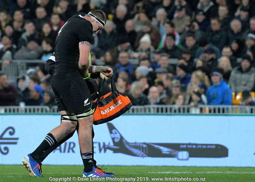 Brodie Retallick goes off injured during the Rugby Championship rugby union match between the New Zealand All Blacks and South Africa Springboks at Westpac Stadium in Wellington, New Zealand on Saturday, 27 July 2019. Photo: Dave Lintott / lintottphoto.co.nz