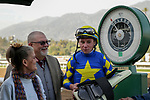ARCADIA, CA  JANUARY 4:  Drayden Van Dyke weighs out after winning the Sham Stakes (Grade lll) on January 4, 2020 at Santa Anita Park in Arcadia, CA.  (Photo by Casey Phillips/Eclipse Sportswire/CSM)
