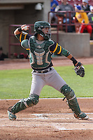 Beloit Snappers catcher Jose Chavez (15) throws down to second base during a Midwest League game against the Wisconsin Timber Rattlers on May 30th, 2015 at Fox Cities Stadium in Appleton, Wisconsin. Wisconsin defeated Beloit 5-3 in the completion of a game originally started on May 29th before being suspended by rain with the score tied 3-3 in the sixth inning. (Brad Krause/Four Seam Images)