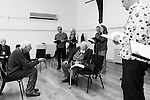 """King Lear"" rehearsed reading rehearsals. Old Vic Theatre. Director: Jonathan Miller. L to R: unknown, Jonathan Miller, Michael York, Felicity Dean, Joss Ackland, John Nettles, Greta Scacchi, Christopher Brand."