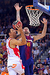 League ACB-ENDESA 2017/2018. Game: 1.<br /> FC Barcelona Lassa vs Baskonia: 87-82.<br /> Matt Janning vs Adrien Moerman.