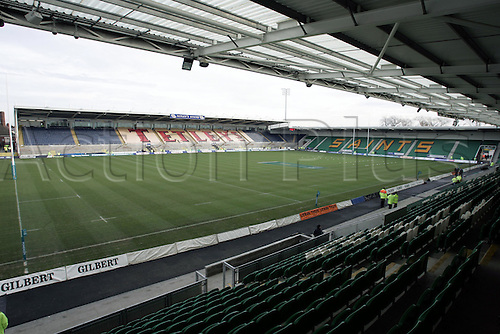 22 January 2005: General view of Franklin's Gardens stadium before the Powergen Cup Quarter Final between Northampton Saints and Leeds Tykes. Leeds won the game 19-24. Photo: Neil Tingle/Action Plus...050122 rugby union venue venues stadium stadiums stadia