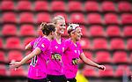 Solna 2014-08-16 Fotboll Damallsvenskan AIK - Kopparbergs/G&ouml;teborg FC :  <br /> Kopparbergs/G&ouml;teborgs Annica Sj&ouml;lund jublar med Manon Melis och Lisa Ek  efter sitt 0-3 m&aring;l<br /> (Foto: Kenta J&ouml;nsson) Nyckelord:  AIK Gnaget Kopparbergs G&ouml;teborg Kopparbergs/G&ouml;teborg jubel gl&auml;dje lycka glad happy