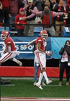 Arkansas Democrat-Gazette/THOMAS METTHE -- 11/29/2019 --<br /> Arkansas wide receiver Trey Knox (7) celebrates after scoring on a 19-yard touchdown reception in the first quarter of the Razorbacks' 24-14 loss to Missouri on Friday, Nov. 29, 2019, at War Memorial Stadium in Little Rock.