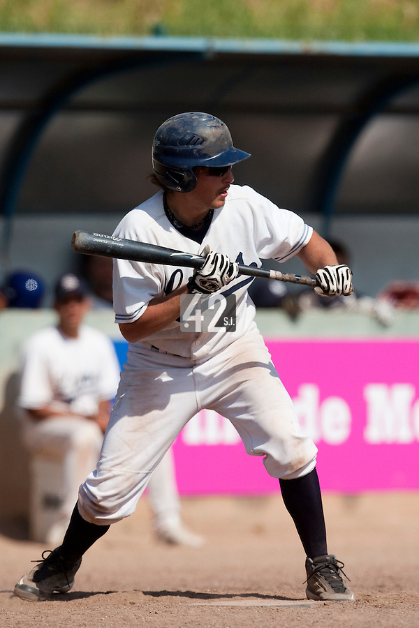 24 May 2009: Romain Scott-Martinez of Savigny prepares for a bunt during the 2009 challenge de France, a tournament with the best French baseball teams - all eight elite league clubs - to determine a spot in the European Cup next year, at Montpellier, France. Rouen wins 7-5 over Savigny.
