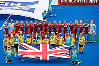 2nd February 2020; Sydney Olympic Park, Sydney, New South Wales, Australia; Womens International FIH Field Hockey, Australia versus Great Britain Women; Great Britain line up for their national anthem