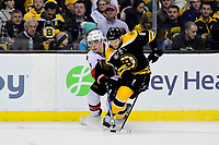 Tuesday, March 21, 2017: Ottawa Senators center Jean-Gabriel Pageau (44) and Boston Bruins defenseman Colin Miller (6) battle for the puck during the National Hockey League game between the Ottawa Senators and the Boston Bruins held at TD Garden, in Boston, Mass. Ottawa defeats Boston 3-2 in regulation time. Eric Canha/CSM