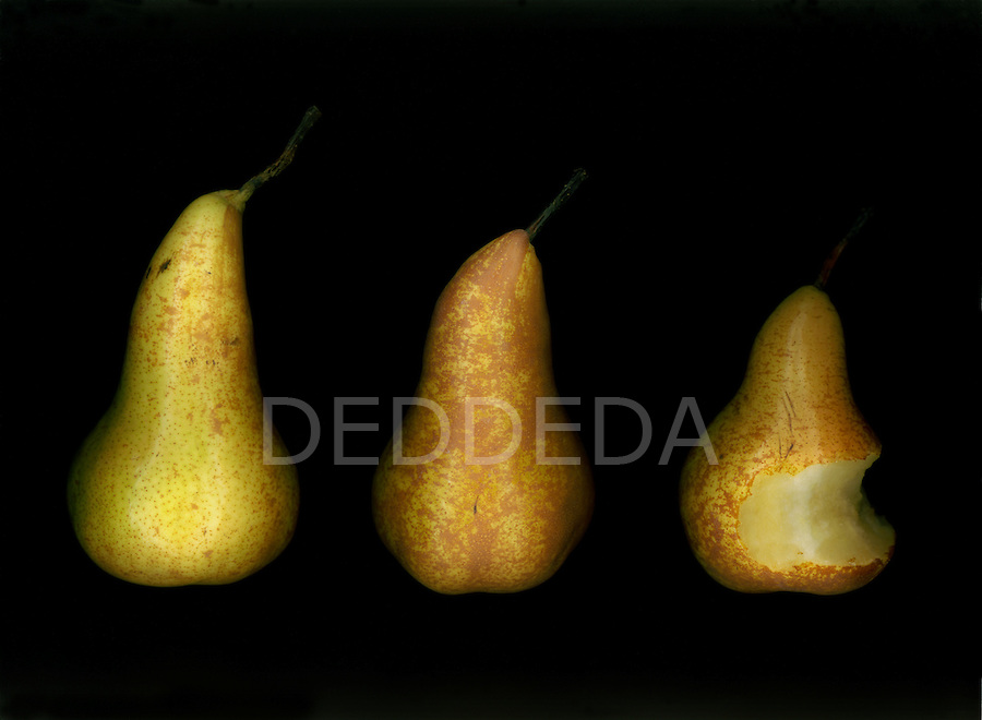 Three pears, a bite taken out of one.